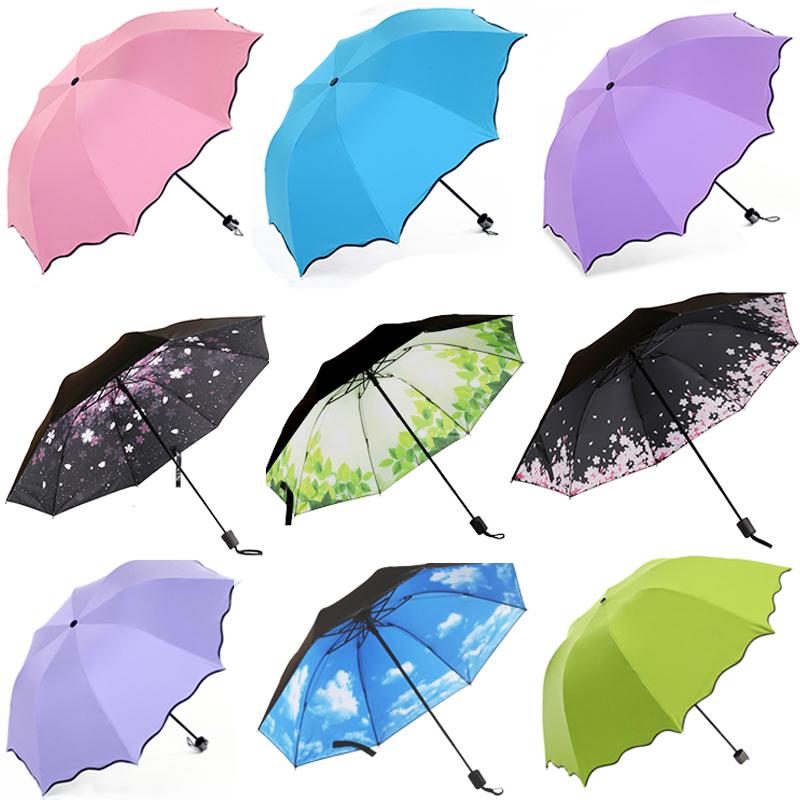 遇水开花特价黑胶防太阳晒伞紫外线韩女三折叠晴雨两用挡风遮雨伞