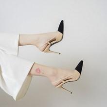 2021夏季新品(小)香风尖头bo10跟鞋女es搭显瘦单鞋包头凉鞋女