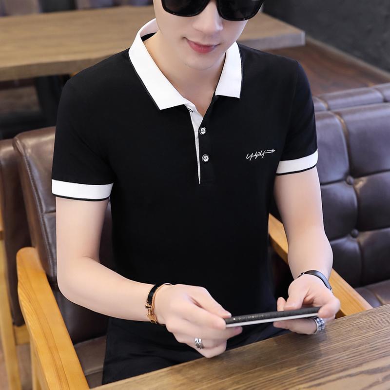 夏季韩版潮流男士有带领短袖T恤半袖修身体恤翻领青年男装衣服潮t