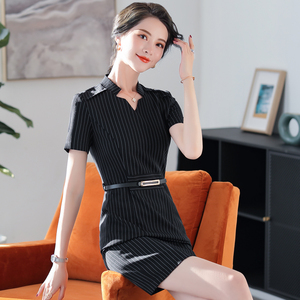 Striped dress female professional overalls Korean fashion slim female skirt beautician waiter overalls ol