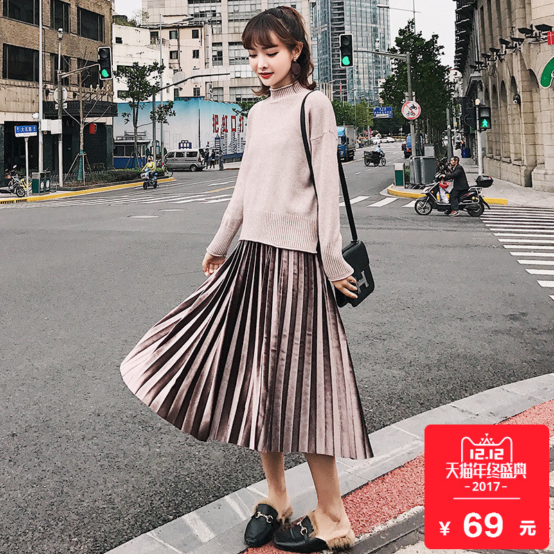 金絲絨百褶裙半身裙秋鼕女2017新款韓版中長款風琴裙子長裙a字裙