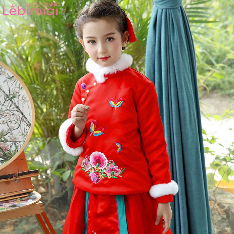 女童唐装旗袍冬季棉衣新年套装儿童中国风拜年服女孩过年喜庆衣服