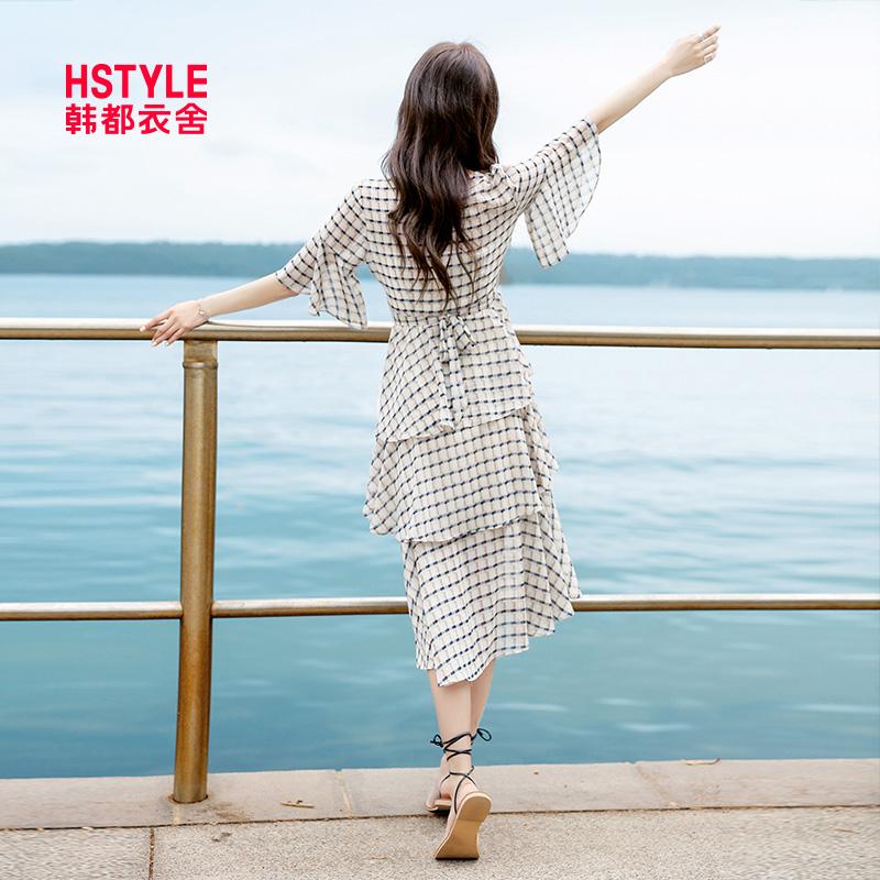 韩都衣舍2019韩版女装夏装新款格子蛋糕显瘦中长款连衣裙ek9025囡