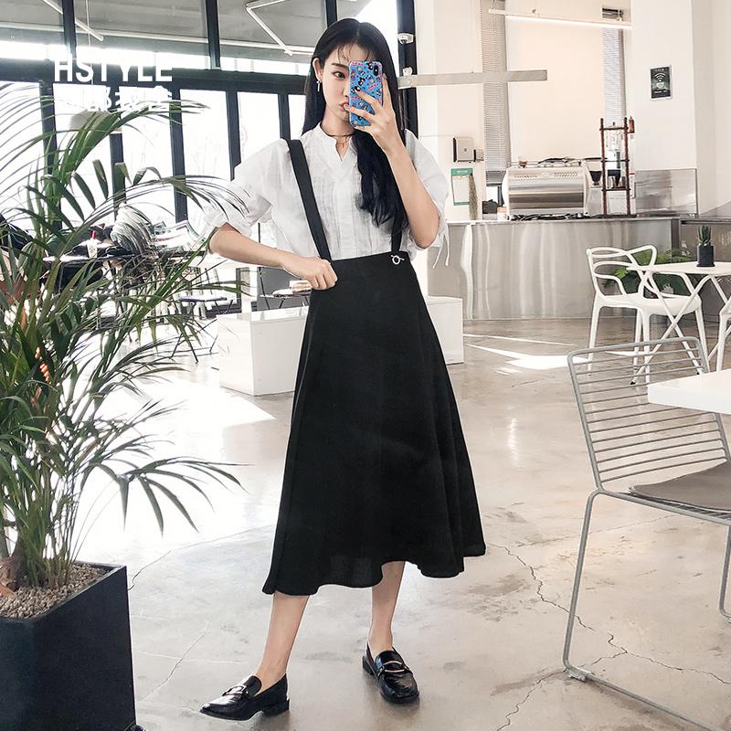 韩都衣舍2019韩版女装夏装新款背带A字百搭中长款半身裙OY8465焕