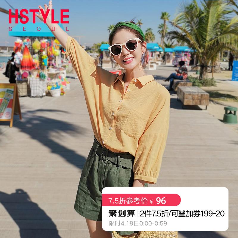 韩都衣舍2019韩版女装夏装新款设计感小众七分袖少女衬衫NG9853茵