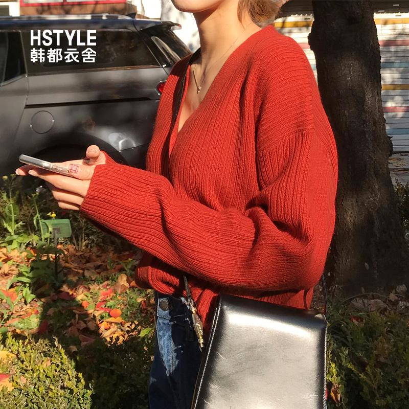 韩都衣舍2019春装新款女装韩版开衫宽松V领针织衫毛衣JM9545蒖