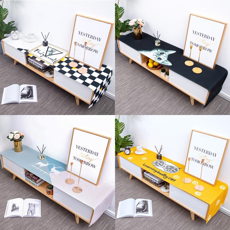 北欧现代简约棉麻布艺电视柜盖布长方形防水电视柜桌布桌垫定制
