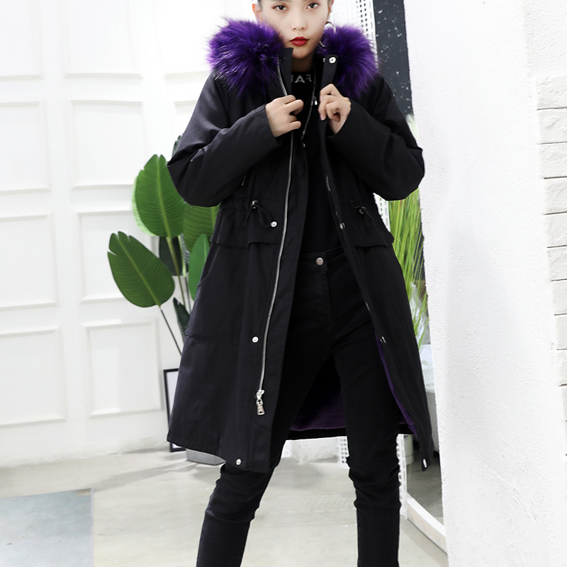 2018韩版新款时尚仿狐狸毛大毛领派克服女中长款宽松加厚外套冬
