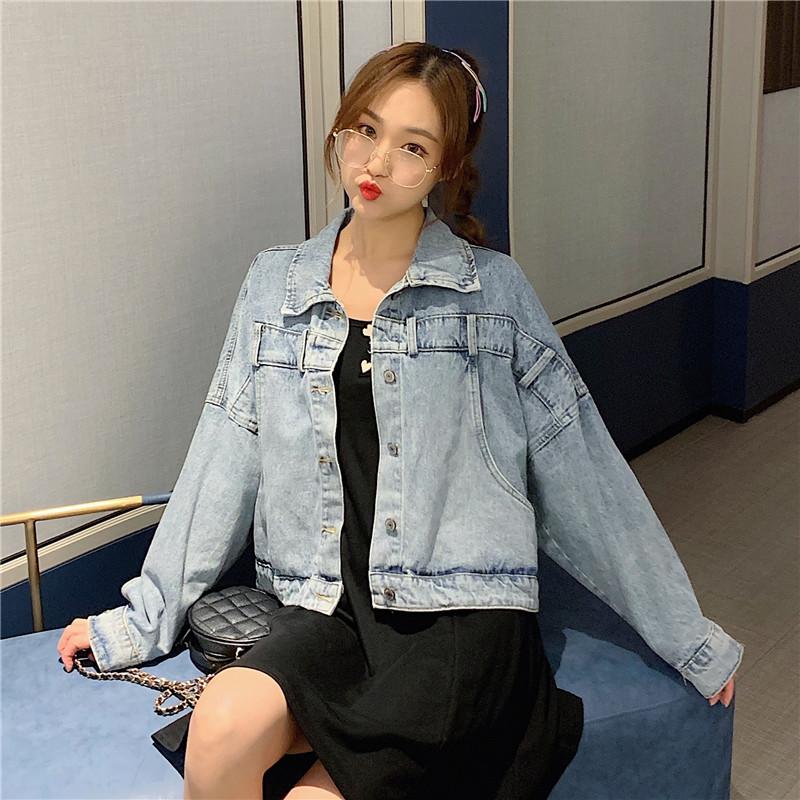 实拍~2020新款春学生韩版牛仔外套宽松背后斜扣设计感潮款 -