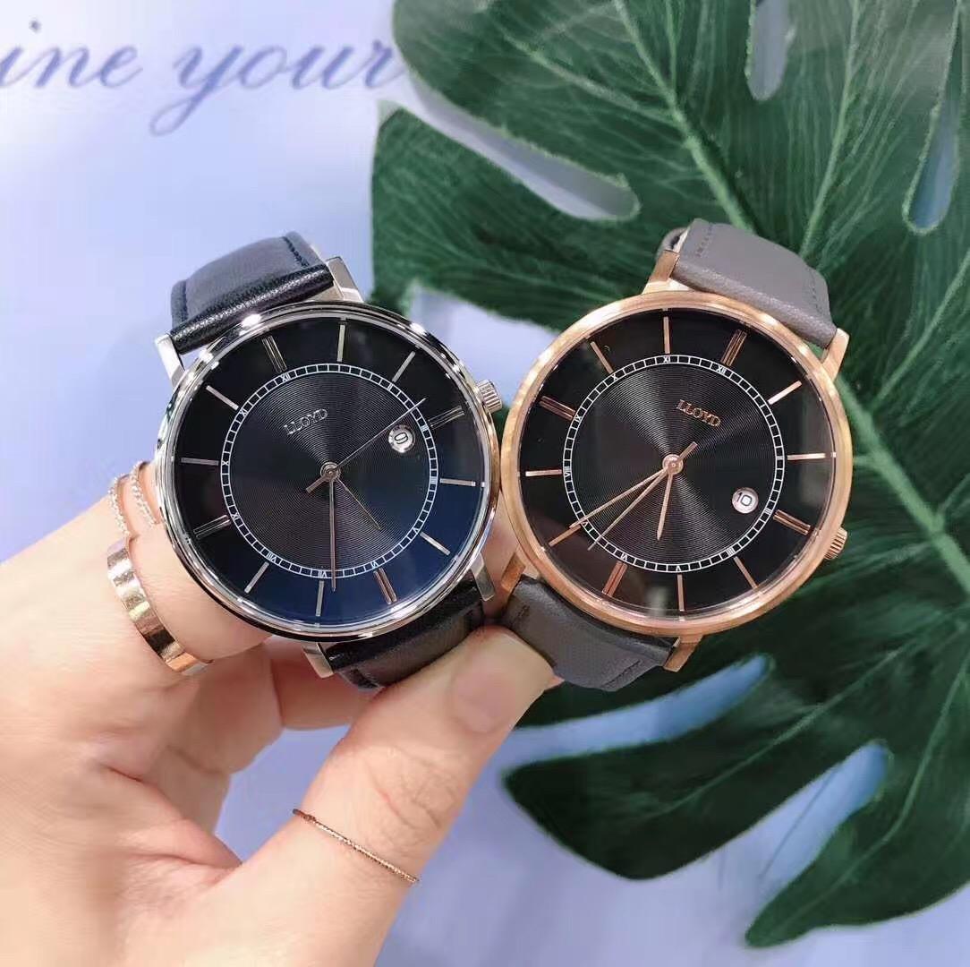 LLOYD韩国专柜代购 锆石简洁个性牛皮情侣表男女新款手表包邮