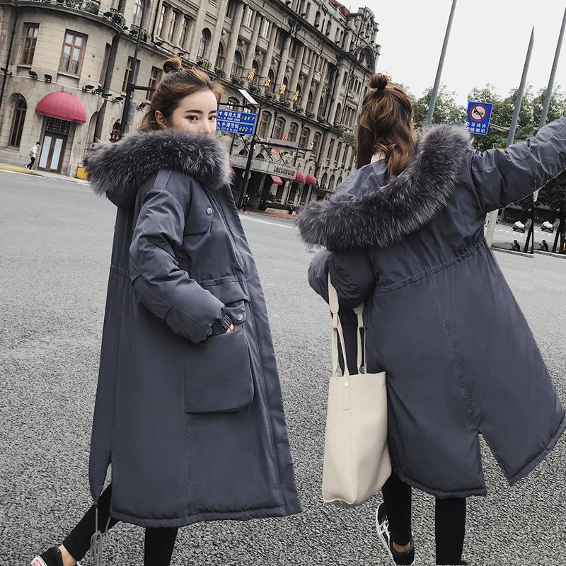 棉袄女2018新款韩版学生外套冬女加厚宽松羽绒棉服大毛领长款