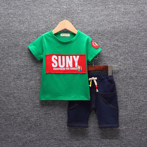 Children's clothing boys summer suit 2018 new baby 1-3-5 years old children's summer short-sleeved 2 thin two-piece tide