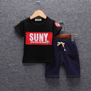 Children's clothing boy summer short-sleeved suit kids clothes new baby 1-3-5 years old children summer two-piece