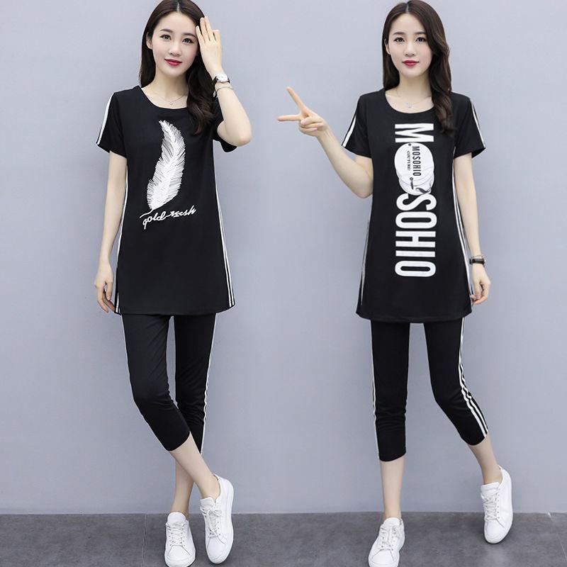 单件/套装2020新款夏韩版休闲运动服套装女上衣裤子两件套闺蜜装