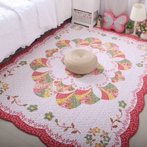 Korean pastoral home fabric cotton thickened bedroom living room floor mat carpet baby crawling cushion sofa overall cushion