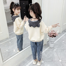 女童套装20at31新式韩as宝宝网红洋气(小)学生女孩卫衣两件套潮