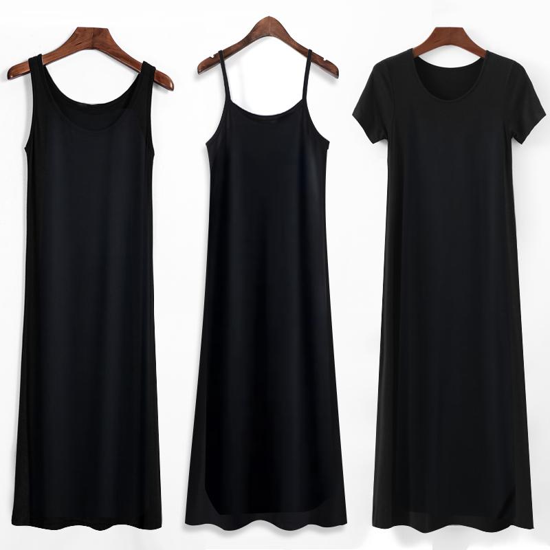 2020年新款莫代尔吊带连衣裙女夏内搭打底黑色背心长裙春秋裙子
