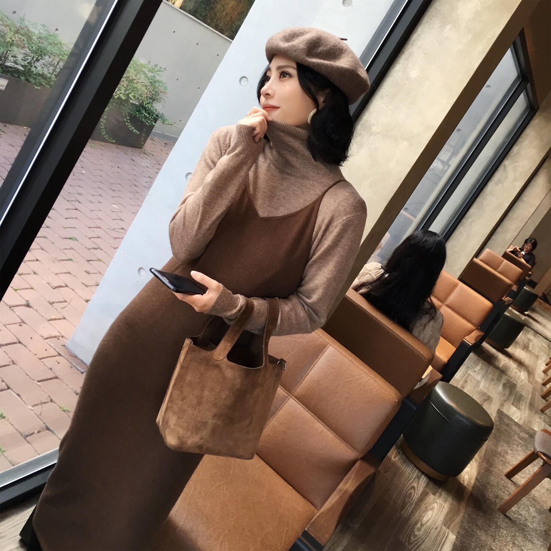 ◆ANNA◆冬装新款高领针织衫吊带背心连衣裙时尚毛衣两件套装女装