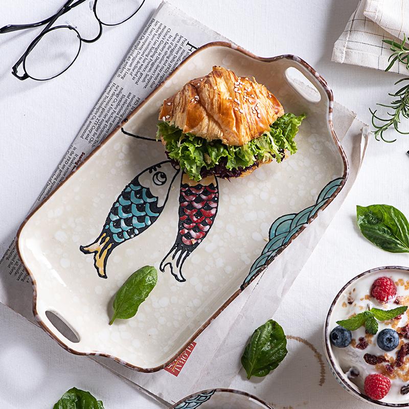 日式釉下彩双耳长盘蒸鱼盘早餐盘鱼盘家用菜盘陶瓷碟子微波炉餐具