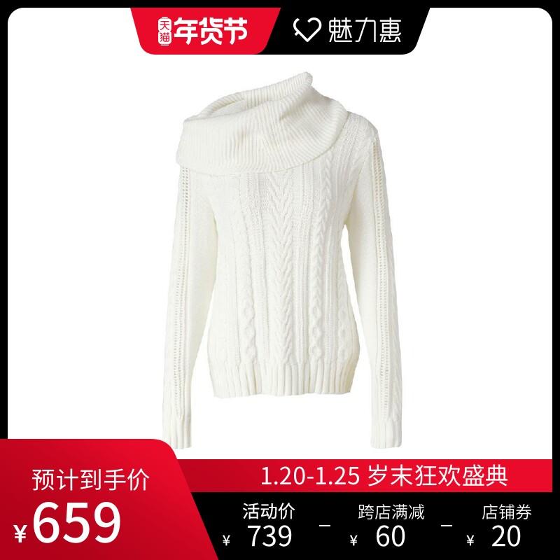 PORTS INTERNATIONAL白色绞花百搭女装高领羊毛衫针织衫毛衣