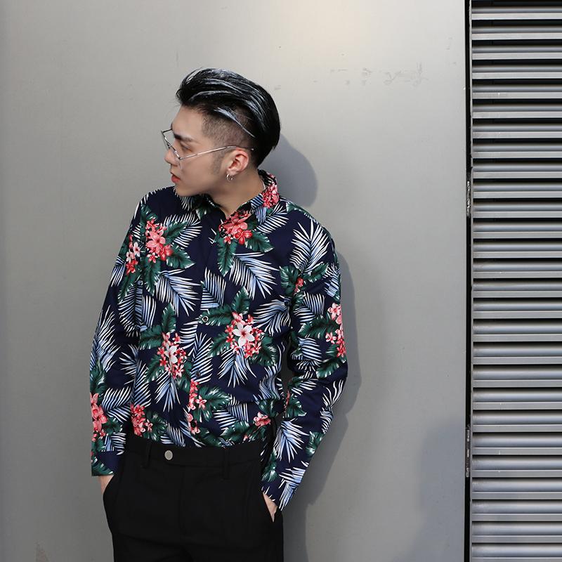 KONG青年帅气日系复古花卉印花长袖衬衫沙滩[淘宝集市]