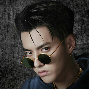 China has hip-hop Wu Yifan with the same glasses personality classical hip-hop sunglasses with decorative long face round frame tide