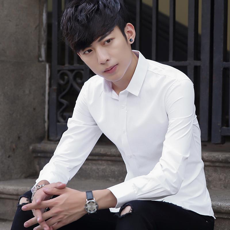 四季青少年帅气白衬衫男士长袖韩版修身纯色大码短袖衬衣商务职业