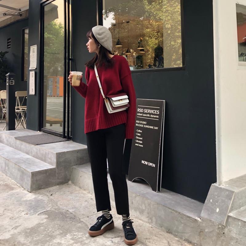 OceanPark 2017独家自制黑色休闲西裤九分裤女直筒裤烟管裤