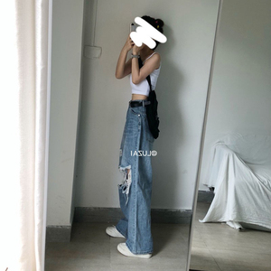 Fat sister 2019 autumn new large size women's loose fit pants with thick thighs wide leg jeans tide