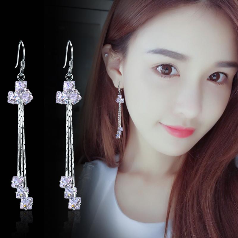 s925纯银流苏耳环长款气质韩国水晶三角耳坠个性百搭耳钉饰防过敏