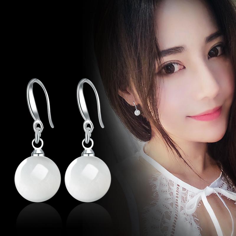 S925纯银珍珠耳环韩国气质百搭耳坠长款防过敏简约饰品耳钉防过敏