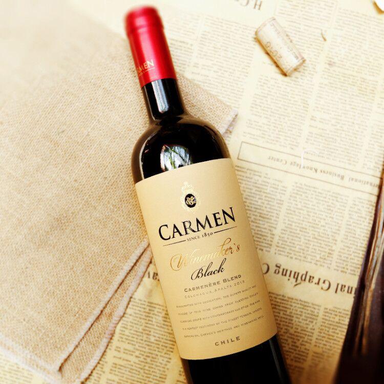 智利红酒 原瓶进口卡乐门carmen特选珍藏佳美娜干红葡萄酒750ml