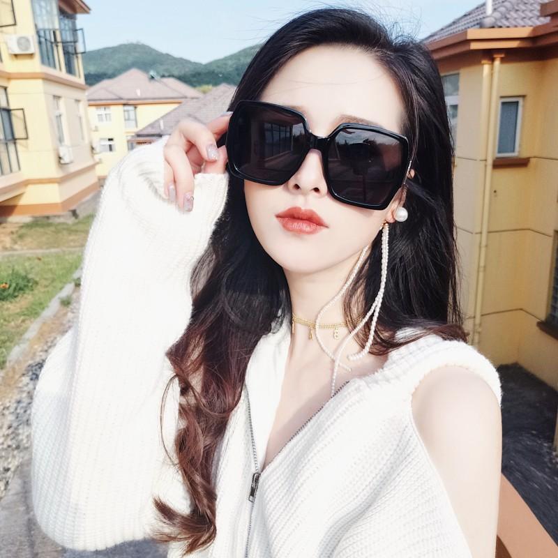 网红墨镜女2018新款黑色超大框偏光太阳镜女圆脸明星同款黑超眼镜