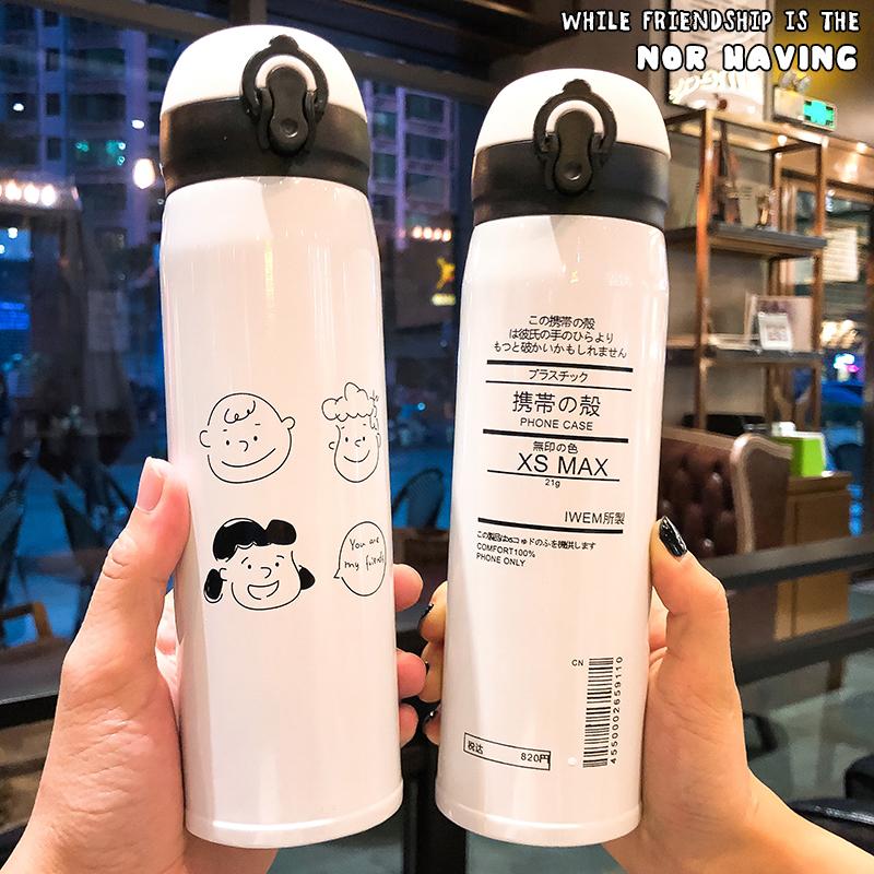 韩国创意简约弹盖不锈钢保温杯女学生ins网红可爱情侣便携水杯子