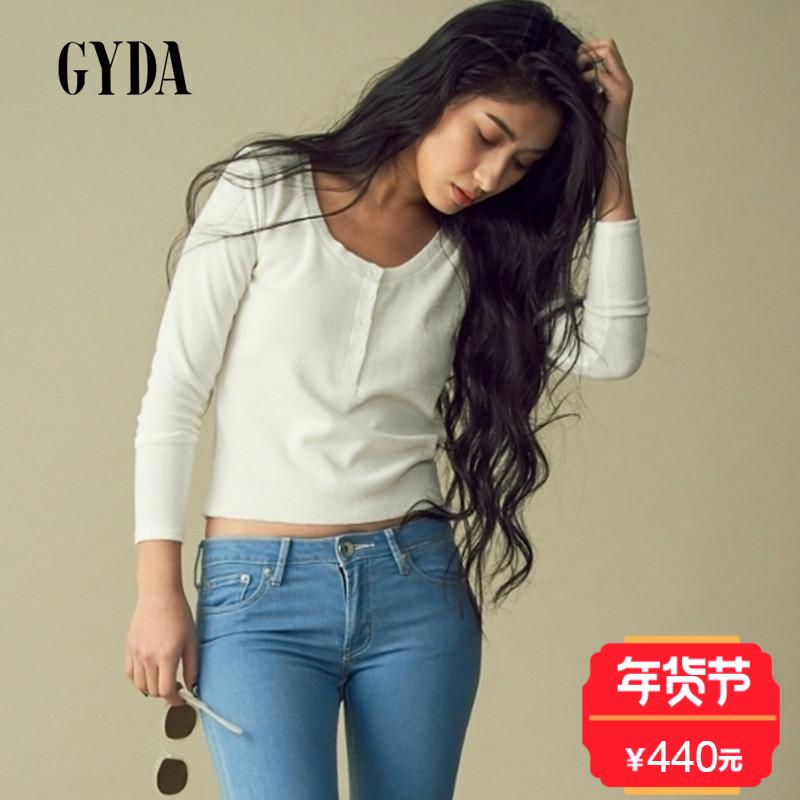 GYDA17新款 简约短款圆领纽扣露脐长袖内搭女式T恤 日本官网直邮