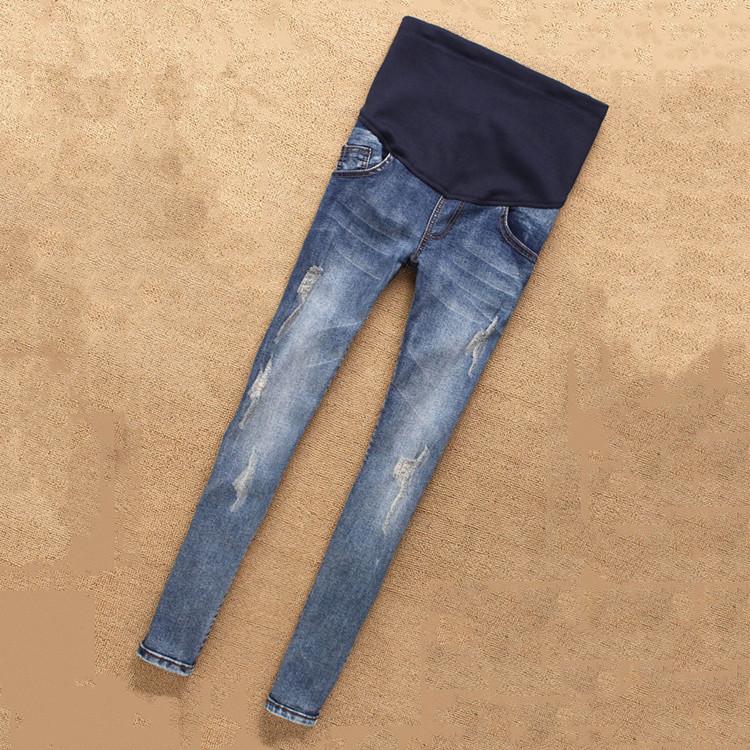 孕妇牛仔裤长裤春装孕妇裤子托腹铅笔小脚裤春秋季修身破洞裤夏潮