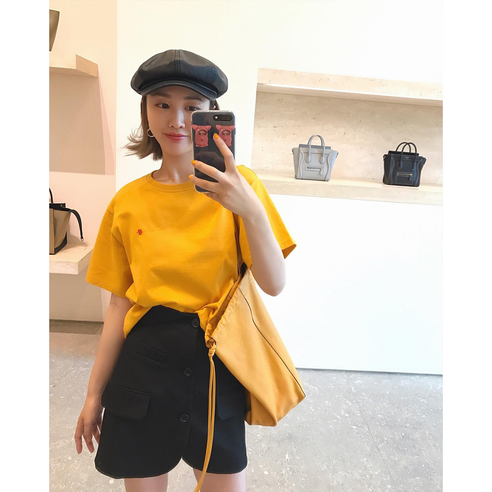 短袖 春夏 女装 宽松 黄色 发财 T恤