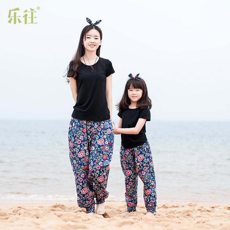小乐往原创亲子装【心愿】新款夏季拍照可爱母女装亲子裤沙滩裤
