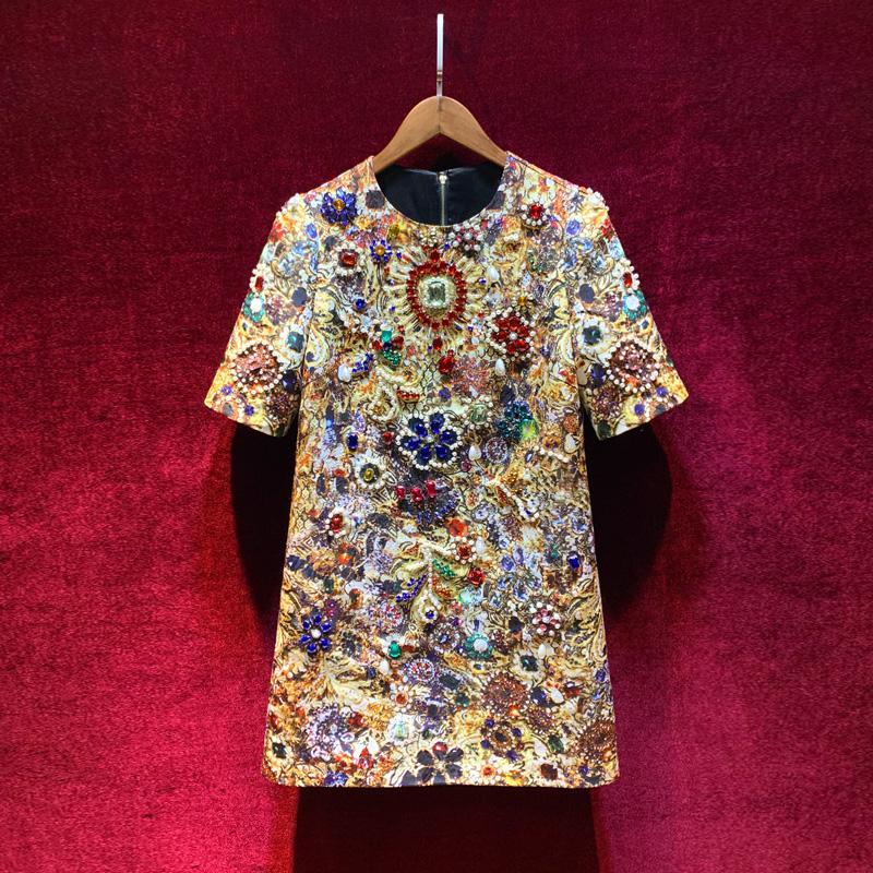 复古巴洛克印花重工镶钻钉珠显瘦气质短袖洋气高端定制连衣裙