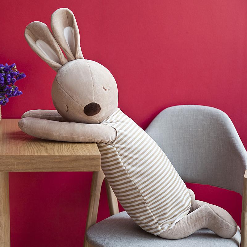 可爱枕头兔子安抚抱枕长条枕公仔毛绒玩具睡觉床上娃娃生日礼物女