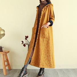 复古民族风女装加绒盘扣麻棉衣外套加厚长款保暖棉服连帽刺绣袍子
