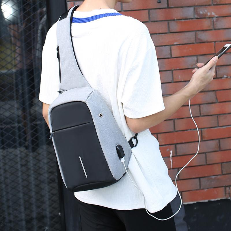 防盗胸包男士韩版潮包单肩斜挎包男休闲运动小背包腰包胸前男包包