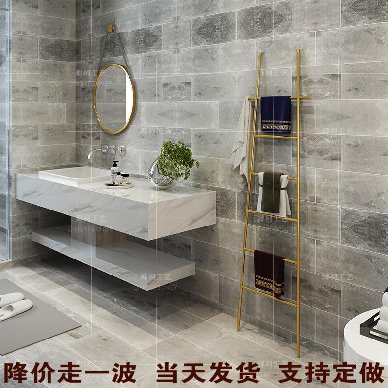 北欧梯子毛巾架落地式免打孔卫生间置物架浴室架收纳架挂衣架黑色