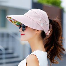 帽子女夏天遮阳帽女韩版防晒太阳帽空顶大沿帽子可折叠出游沙滩帽