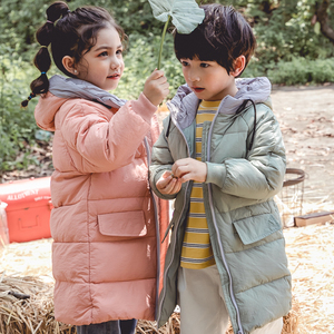 Ruiyu children's down jacket girls in the long section of the western style big boy boy baby thick white duck down hooded jacket