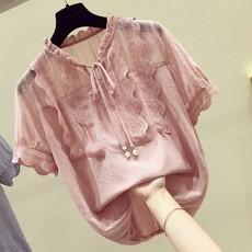 蕾丝拼接雪纺衫女2020夏季新款韩版宽松甜美洋气小衫遮肚子上衣潮