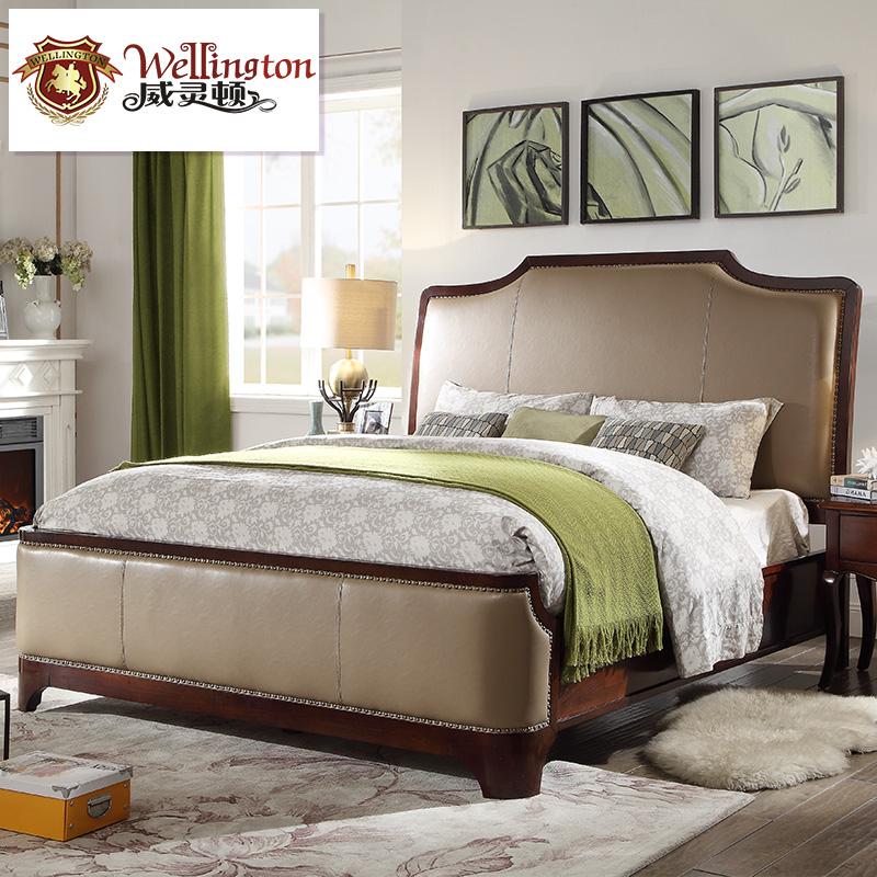 威灵顿 美式床双人床简美床1.8m主卧床婚床乡村复古大床A801-22
