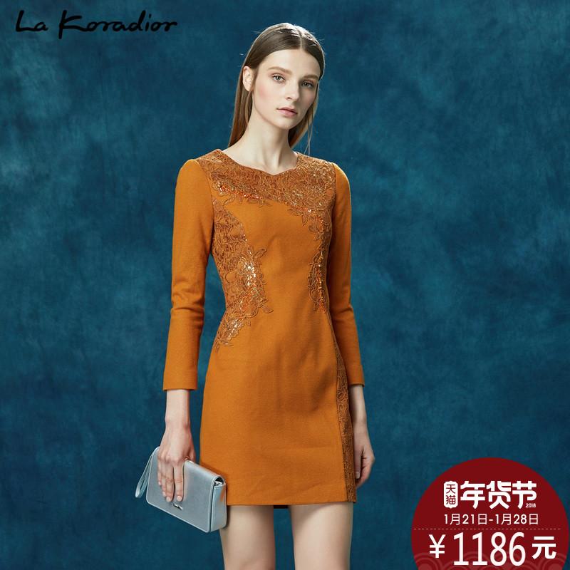 La Koradior/拉珂蒂正品2017新款春装蕾丝修身显瘦气质名媛连衣裙