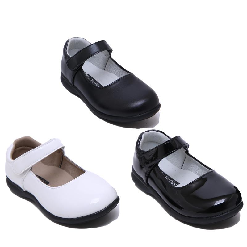 儿童皮鞋女童黑色公主单鞋表演出鞋中大童花童圆头软底白色礼服鞋