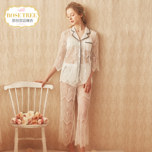 Rosetree sexy lace pajamas women summer thin section perspective suit ins transparent fun ice silk home service
